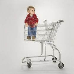 A child in a shopping cart can lead to serious injuries