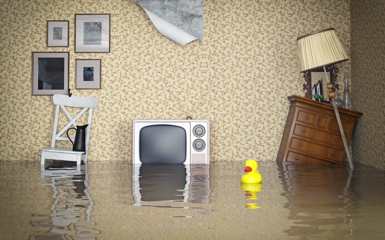 A flooded apartment is dangerous and inconvenient.