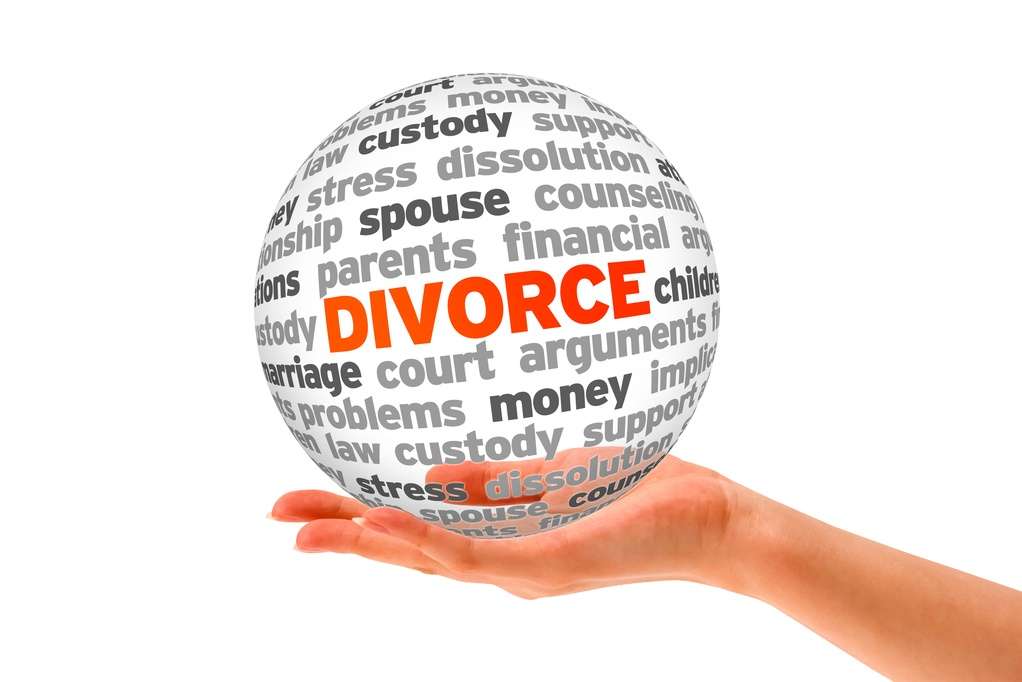 Hand with globe images about divorce custody separation dissolution