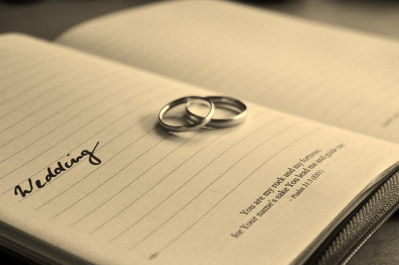 Wedding rings on planner open to wedding date