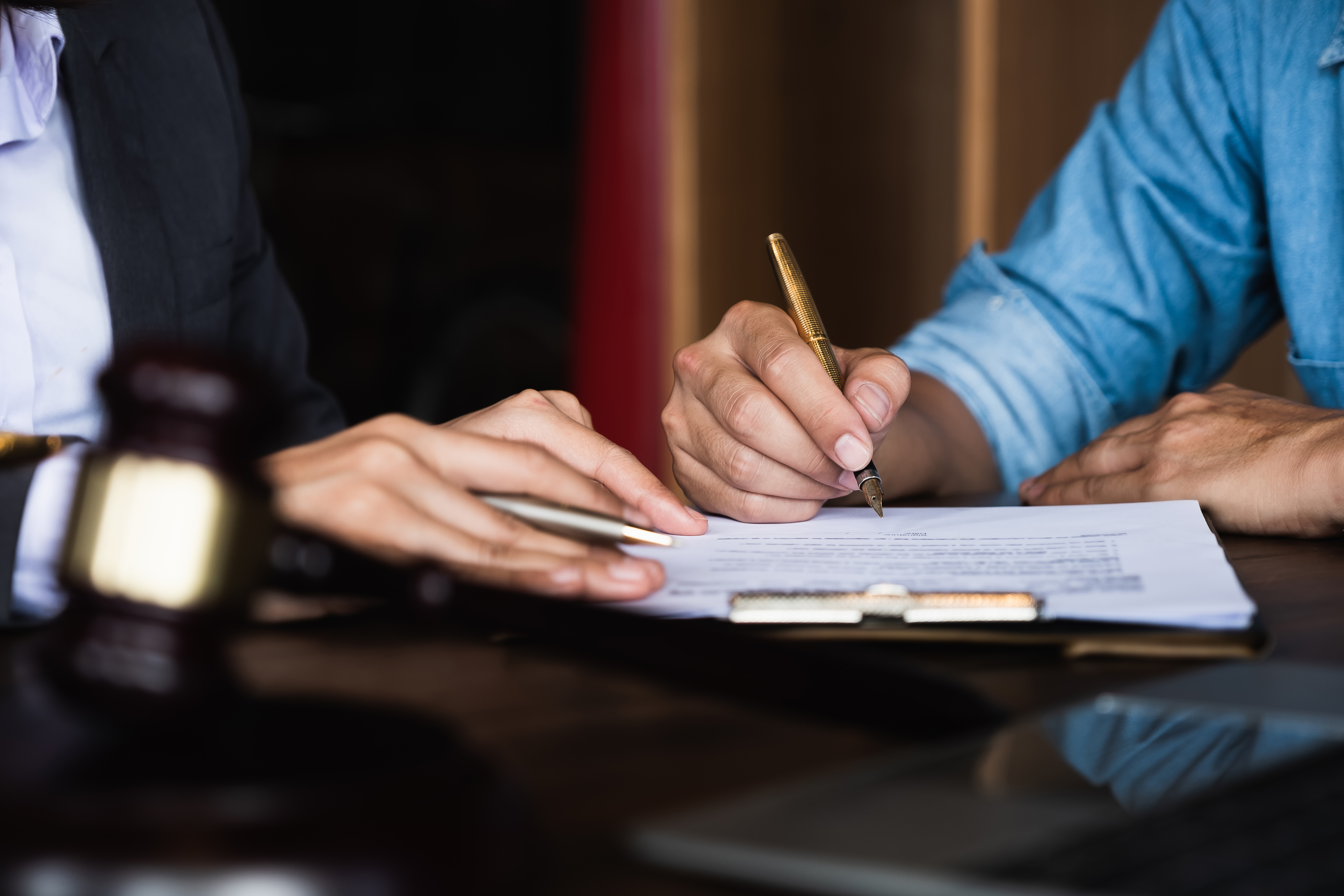 Employers reviewing contract